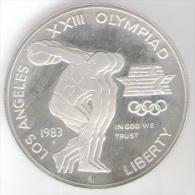STATI UNITI 1 DOLLAR 1983 XXII OLYMPIAD LOS ANGELES SILVER FONDO SPECCHIO - Emissioni Federali