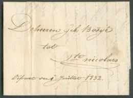 """LAC De GAND Le 1 Er Juillet 1832 Vers Saint-Nicolas + Manuscrit """"Départ Au 1 Juillet 1832 (... De La Diligence/malle-pos - 1830-1849 (Belgique Indépendante)"""