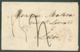 LSC De WEERT (type 18) + Sc (type 11) De ROERMONDE Le 5/2 (1844) Vers Liège - Verso : Griffe Na Posttijd Et Passage Par - 1830-1849 (Belgique Indépendante)