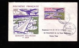 Enveloppe Premier Jour 1er Fdc Polynésie Française Papeete 1960 Circulée Ouverte En Haut - Polynésie Française