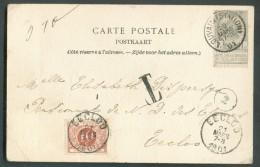 N°53 - 1 Centime Gros Obl. Sc LOUVAIN (STATION) S/C.V. Du 20 Mars 1901 Vers Eecloo Et Taxée à 10 Centimes Par T-TX N°4 + - Timbres