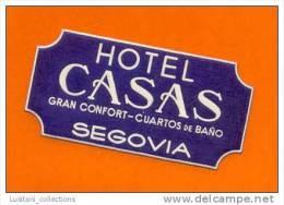 HOTELS HOTEL LUGGAGE LABEL ETIQUETTE DE VALISE SPAIN ESPAÑA ESPAGNE ESPANA SEGOVIA - Etiquettes D'hotels