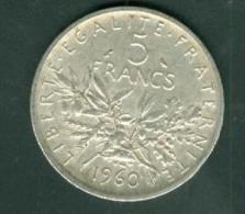 Piece    5   Francs Argent Silver , Année 1960    - Pia6303 - J. 5 Francs