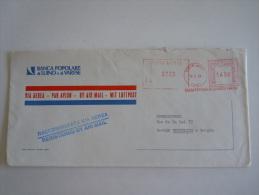Italie Italia Brief Lettre Letter 1984 Banco Popolare Raccomandata Luino To Bruxelles EMA - Affrancature Meccaniche Rosse (EMA)