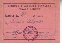 TESSERA CIRCOLO FILATELICO FINALESE-FINALE LIGURE -ORIGINALE D´EPOCA 100% - Collezioni