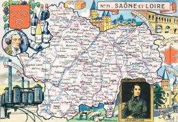 SAONE ET LOIRE  - Carte Du Département -  LE CREUSOT, PARAY LE MONIAL, CLUNY , Portrait De LAMARTINE - Zonder Classificatie