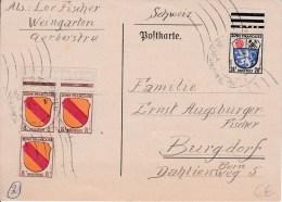 ZOF - 1946 -     CARTE POSTALE De  RAVENSBURG-WEINGARTEN  à BURGDORF ( SUISSE ) - Franse Zone
