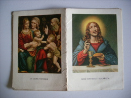 "Calendarietto Santino ""Gesù Istituisce L´Eucarestia-Sacra Famiglia-S.Teresa-Madonna -Santo Cuore"" 1939 - Calendari"