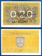 Lituanie 0.20 Talonas 1991 Avec Texte Nombre Noir 3 Lignes Neuf UNC Plant Litu Paypal Skrill Bitcoin Ok - Lituanie