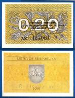 Lituanie 0.20 Talonas 1991 Avec Texte Nombre Noir 3 Lignes Neuf UNC Plant Litu Paypal Skrill Bitcoin Ok - Lituania