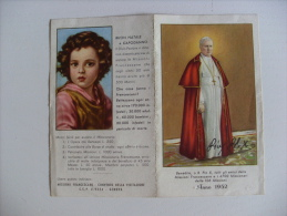 "Calendarietto/calendario Santino ""PIO X"" Anno 1952 Missioni Francescane - Calendari"