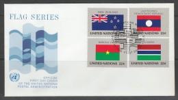 ENVELOPPE 1ER JOUR DES NATIONS UNIES N.Y. - DRAPEAUX DE : NOUVELLE ZELANDE, LAOS, BURKINA FASO ET GAMBIE - Covers