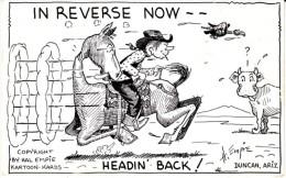 'In Reverse Now Heading Back' AZ Arizona, Empie Artist Signed Humor Duncan AZ, C1940s Vintage Postcard - Other