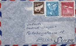 1958, CHILE, LP-Brief Mit 3fach Frankierung, Gel.v. Chile N. Basel Suisse - Chile