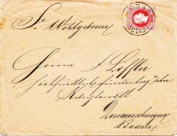 Österr.1878, 5 Kreuzer Blaßrot (ANK37) Auf Brief, Stempel Prag-Altstadt + Donauschingen, Siegelmarke