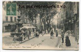 - 1403 - Brignoles En 1907 - Place Caramy, Fontaine, Belle Animation, Peu Courante, écrite, TBE, Scans. - Brignoles