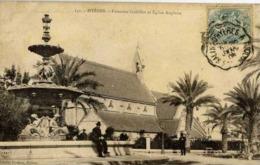 83 HYERES - Fontaine Godillot Et Eglise Anglaise - Animée - Hyeres