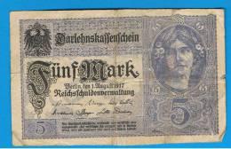 ALEMANIA - GERMANY -  5 Mark 1917 MBC-  P-56 - [ 2] 1871-1918 : Imperio Alemán