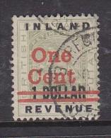 BRITISH GUIANA: 1890 INLAND REVENUE ONE CENT On 1 DOLLAR, C.d.s. Used - British Guiana (...-1966)