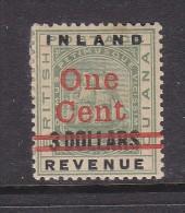 BRITISH GUIANA: 1890 INLAND REVENUE ONE CENT On 3 DOLLARS, MH* - British Guiana (...-1966)