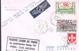 PREMIERE LIAISON AIR FRANCE Par Quadriréacteur BOEING 707 . PARIS-LOS ANGELES . - Aviation Commerciale