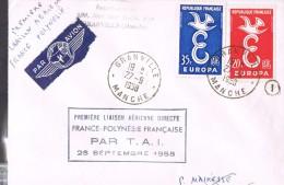 PREMIERE LIAISON AERIENNE DIRECTE FRANCE-POLYNESIE FRANCAISE PAR T.A.I . - Aviation Commerciale
