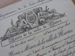 1828 - NANTES (Loire) - BERNARD DES ESSARTS, 1er Adjoint Au Maire. - VIGNETTE - Autografi