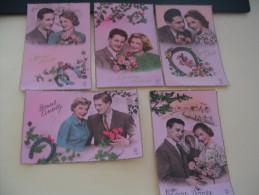 LOT 5 CARTES ...COUPLES ET BONNE ANNEE. - 5 - 99 Postcards