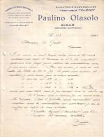 "ESPAGNE - EIBAR - FABRIQUE DE BIJOUX - BIJOUTERIE DAMASQUINEE "" VERITABLE TOLEDO "" - PAULINO OLASOLO - LETTRE - 1924 - Spain"