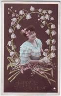 FANTAISIES. SUPERBE PORTRAIT DE FEMME. CLOCHETTES DE MUGUET. V.B .C.SERIE N 33136. EMAILLOGRAPHIE - Women