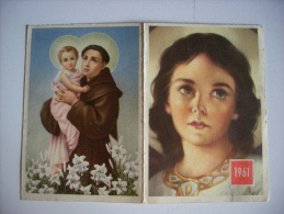 """Calendarietto/calendario Santino 1961 Supplemento A """"Scintille D´Amore"""" Orfanotrofio Femminile Antoniano - Formato Grande : 1961-70"""