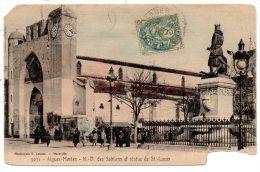 CP, 30, AIGUES-MORTES, N.D. Des Sablons Et Statue De St Louis, Voyagé - Aigues-Mortes