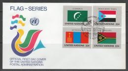 ENVELOPPE 1ER JOUR DES NATIONS UNIES N.Y. - DRAPEAUX DE : COMORES, YEMEN DU SUD, MONGOLIE ET VANUATU - Covers