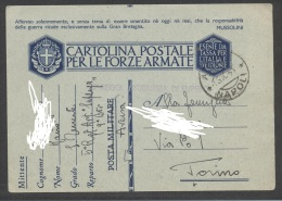 "5151-FRANCHIGIA 2° GUERRA-5° REGG. ART. ""SUPERGA""-AVERSA(NAPOLI)- 18-10-1941 - 1900-44 Victor Emmanuel III"