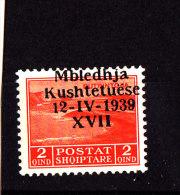 1939-ASSEMBLEA COSTITUENTE 2.Q ARANCIO NUOVO MNH** SOPRASTAMPA SPOSTATA IN ALTO - Occ. Allemande: Albanie