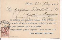 VARALE, BIELLA, CARTOLINA COMMERCIALE   CON TESTO E PRESENTAZIONE PRODOTTI, VIAGGIATA 1908 PER  CASTELMAGGIORE BOLOGNA - Biella