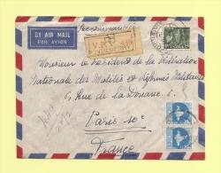 Recommande De Pondichery Pour La France - 1959 - 1950-59 Republik