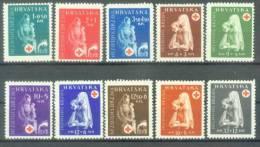 HR 1943-118-27 RED CROSS, CROATIA HRVATSKA, 10v, MNH - Croatia