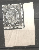 KENYA & UGANDA 1922 12c JET-BLACK SG 81 SHEET CORNER MINT NEVER HINGED - Kenya, Uganda & Tanganyika