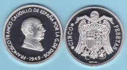 ¡¡MUY RARO!!   VERY RARE !!!!  ESPAÑA  /  SPAIN  (Francisco Franco) 5 PESETAS 1.949 #19-49  SC/UNC   T-DL-10.081 Esp. - 5 Pesetas
