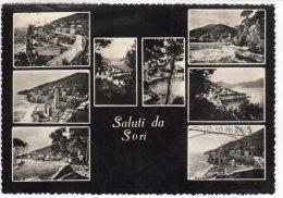 SALUTI DA SORI (GE) - VEDUTINE - F/G -V: 1956 - BOLLO ROTTO - Genova