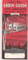 Road Map Cabin Guide New England, New York, Quebec  1946 - Roadmaps