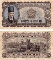 ROMANIA 25 LEI 1952 P 89b VG- - Romania
