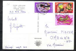"""BOL889 - NIGERIA , Cartolina """" Rinoceronte """" Da Lagos 27/9/66 - Nigeria (1961-...)"""