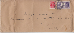 India  1939  KG VI  Bullock Cart Stamp Mailed Cover  BOMBAY To  SWITZERLAND  #  50128 - India (...-1947)