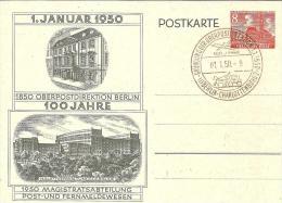 Bln105b/ 100 Jahre OPD Berlin,  1.1. 1950, Mit Sonderstempel - Postkarten - Gebraucht