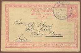 TURKEY-SERBIA, POSTAL CARD 20 Paras ANDRINOPLE-EDRINE/DEMIR-TACHE To VELIKA PLANA 1911 RARE!!!!!!!!!!!! - 1858-1921 Empire Ottoman