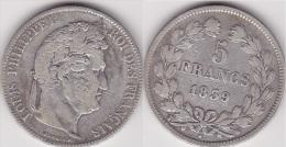 5 FRANCS LOUIS PHILIPPE 1839 W (Lille) En Argent - Voir Scan - France
