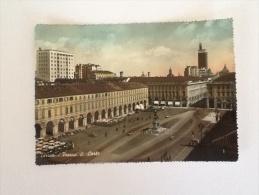 TORINO PIAZZA SAN CARLO A COLORI VIAGGIATA DEL 1958 - Places & Squares