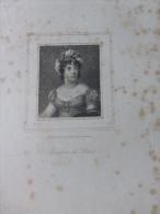 Madame De STaël, Gravure Eau-forte Vers 1830, Format 14X24 Cm Env ; Ref 505 - Prenten & Gravure